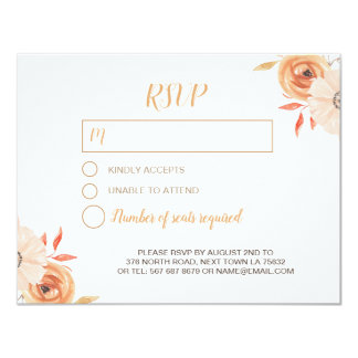 RSVP Wedding Card Watercolor Painted Fall Autumn
