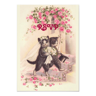 RSVP Wedding Cats in Soft Pink Invitation