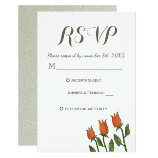 RSVP Wedding Floral Watercolor Spring White Pure Card