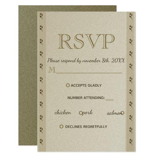 RSVP Wedding Golden Floral Elegant Sandstone Chic Card
