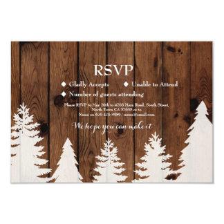 RSVP Wedding Rustic Wood Winter Tree Cards Invites
