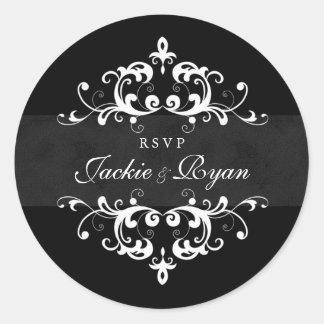 RSVP Wedding Stickers Black White Embellishment