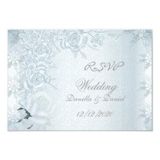 RSVP Wedding White Silver Blue Roses Snowflakes Card
