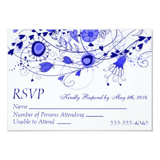 RSVP - Whimsical Navy Blue Wedding 1 Card