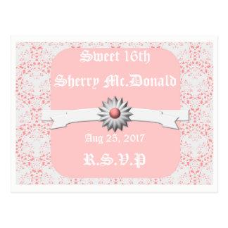 RSVP white Pastel Pink Postcard-Sweet 16th Postcard