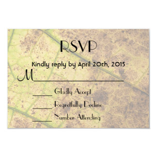 "RSVP Yellow and Brown Dying Macro Leaf 3.5"" X 5"" Invitation Card"