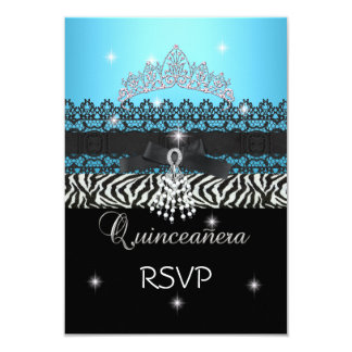 RSVP Zebra Quinceanera 15th Birthday Blue Black 9 Cm X 13 Cm Invitation Card