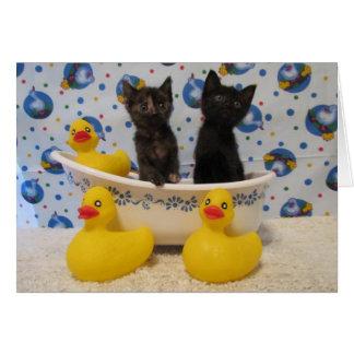 Rub A Dub Dub Kitties and Ducks in a Tub Greeting Card