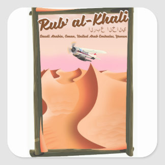 Rub' al Khali Saudi Arabia vacation poster. Square Sticker