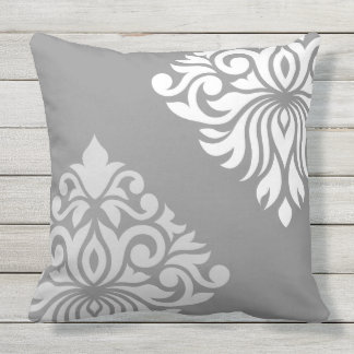 Ruban Damask Art I Lt Grey & White on Grey Outdoor Cushion