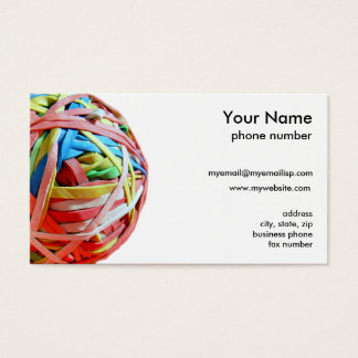 Rubber band ball business card