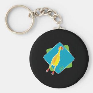 rubber chicken basic round button key ring