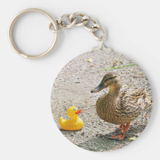 Rubber Duck and Mother Duck Basic Round Button Key Ring