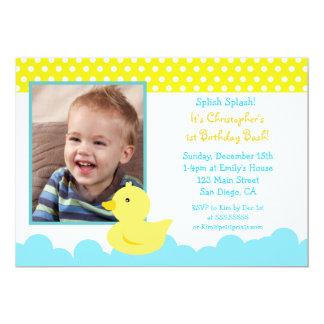 """Rubber Duck Birthday Invitations 5"""" X 7"""" Invitation Card"""