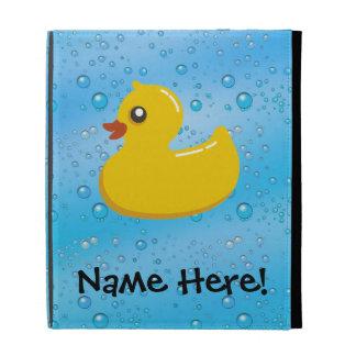 Rubber Duck Blue Bubbles Personalised Kids iPad Case