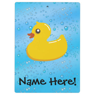Rubber Duck Blue Bubbles Personalised Kids Clipboard