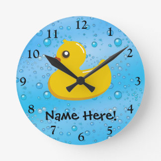 Rubber Duck Blue Bubbles Personalised Kids Wall Clocks