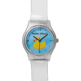 Rubber Duck Blue Bubbles Personalised Kids Wristwatches