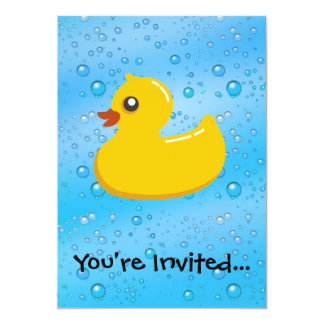 Rubber Duck Blue Bubbles Personalized Kids 13 Cm X 18 Cm Invitation Card