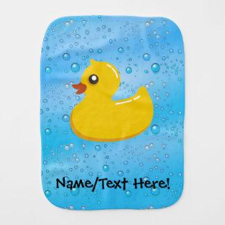 Rubber Duck Blue Bubbles Personalized Kids Baby Burp Cloth