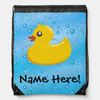 Rubber Duck Blue Bubbles Personalized Kids Backpack
