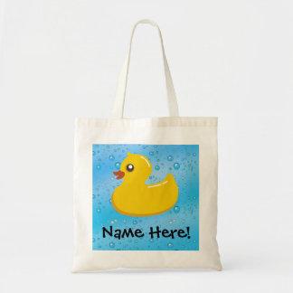 Rubber Duck Blue Bubbles Personalized Kids Canvas Bag