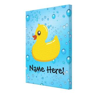 Rubber Duck Blue Bubbles Personalized Kids Canvas Prints