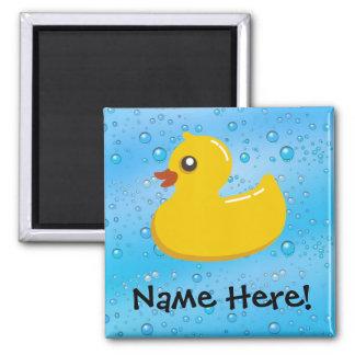 Rubber Duck Blue Bubbles Personalized Kids Magnet
