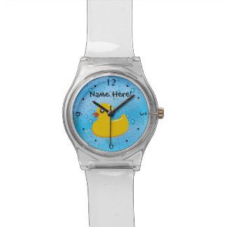 Rubber Duck Blue Bubbles Personalized Kids Wristwatch