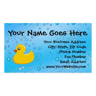 Rubber Duck Blue Bubbles Personalized Kids Pack Of Standard Business Cards