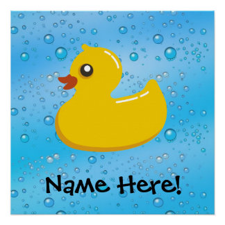 Rubber Duck Blue Bubbles Personalized Kids Perfect Poster