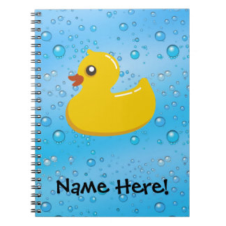 Rubber Duck Blue Bubbles Personalized Kids Spiral Note Book