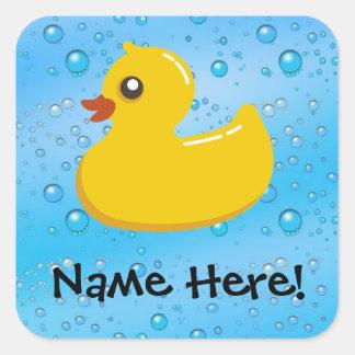 Rubber Duck Blue Bubbles Personalized Kids Square Sticker