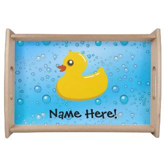 Rubber Duck Blue Bubbles Personalized Kids Serving Platters