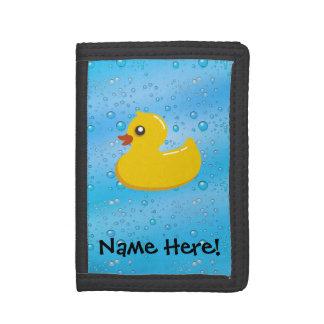 Rubber Duck Blue Bubbles Personalized Kids Tri-fold Wallets