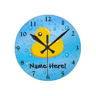 Rubber Duck Blue Bubbles Personalized Kids Wall Clocks