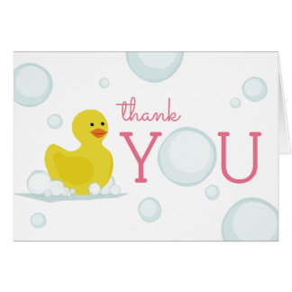Rubber Duck Bubbles Baby Shower Thank You Pink Card