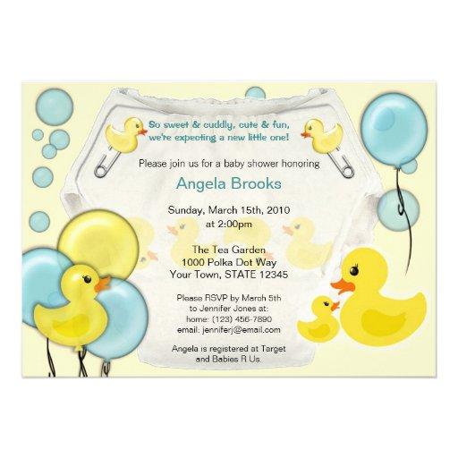 Rubber Duck Ducky Diaper Baby Shower Invitation
