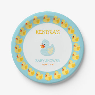 Rubber Duck Ducky Gender Neutral 7 Inch Paper Plate