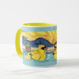 Rubber Duck Family in Pool Vacation Designer Mug