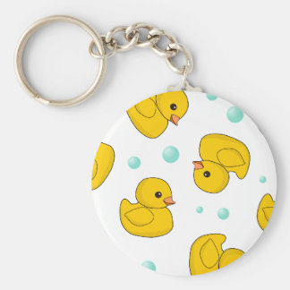 Rubber Duck Pattern Basic Round Button Key Ring