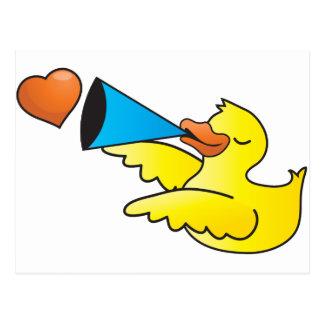 Rubber duckie loud speaker post card
