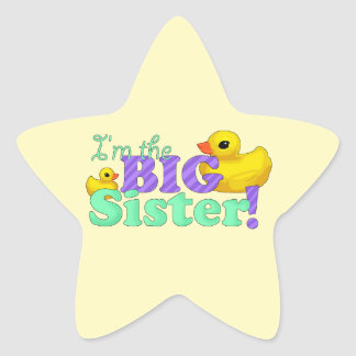 """Rubber Duckies - Big Sister"" Star Sticker"