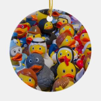 Rubber Ducks Round Ceramic Decoration