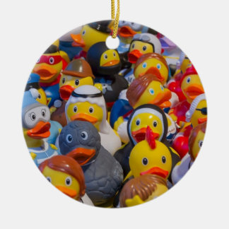 Rubber Ducks Round Ceramic Decoration