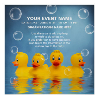 RUBBER DUCKS SWIMMING WATER- POSTER  - PERSONALIZE
