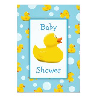 Rubber Ducky and Bubbles Theme Baby Shower 13 Cm X 18 Cm Invitation Card