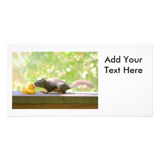 Rubber Ducky and Squirrel Kissing Picture Card