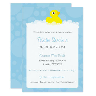Rubber Ducky Baby Shower Invitation - Blue