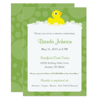 Rubber Ducky Baby Shower Invitation - Green